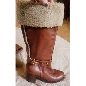 Napoleoni leather & fleece knee boots size 7.5
